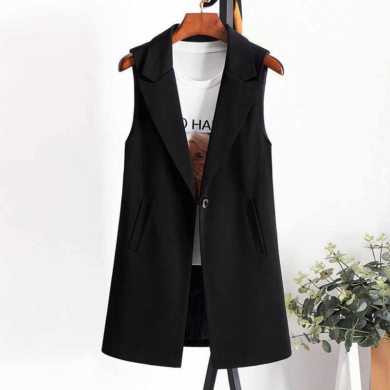 Элегантный костюм жилет женский весна лето без рукавов Длинный жилет куртка Colete плюс размер 3XL Блейзер жилет пальто жилет верхняя одежда R858