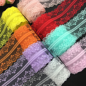 10yds 40mm Wide Bilateral Handicrafts Embroidered Net Lace Trim Ribbon Wedding/Birthday/Christmas/Bow Decorations(China)
