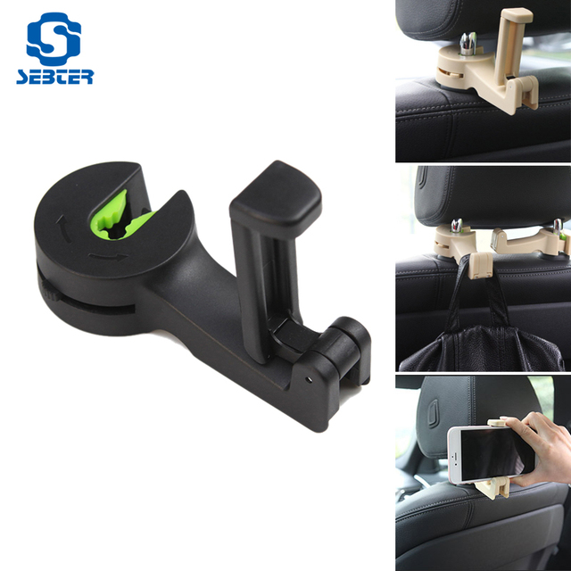 SEBTER Car Clips Seat Back Hooks Bags Hanger Phone Holder Car Accessories Automobiles Headrest Mount Storage Universal Car Hook