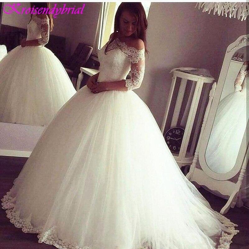 QFS051 robe de mariage Ball Gown Sale Wedding Dresses Lace Long Sleeves Vintage Bridal Dresses Factory