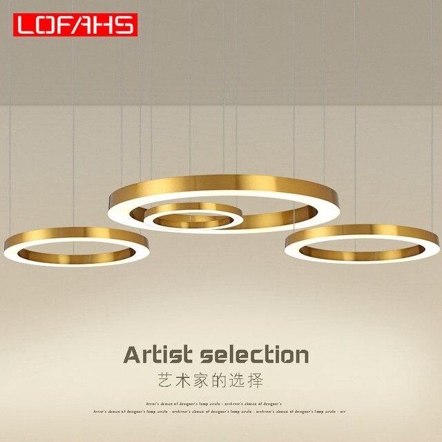LOFAHS Modern LED avize lüks büyük kombinasyon daire oturma odası için led lamba asılı fikstür yüzük avizeler lamba