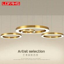Lofahs moderno led lustre de luxo grande combinação círculo para sala de estar led lâmpada pendurado luminárias anel lustres lâmpada