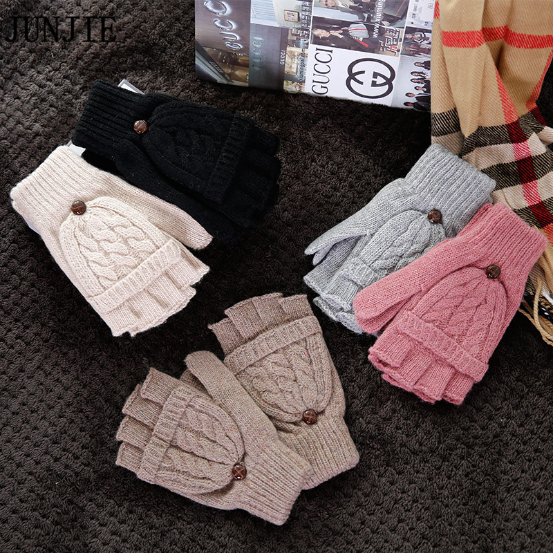 Special Female Gloves Thick Women Wool Winter Warm Exposed Finger ...