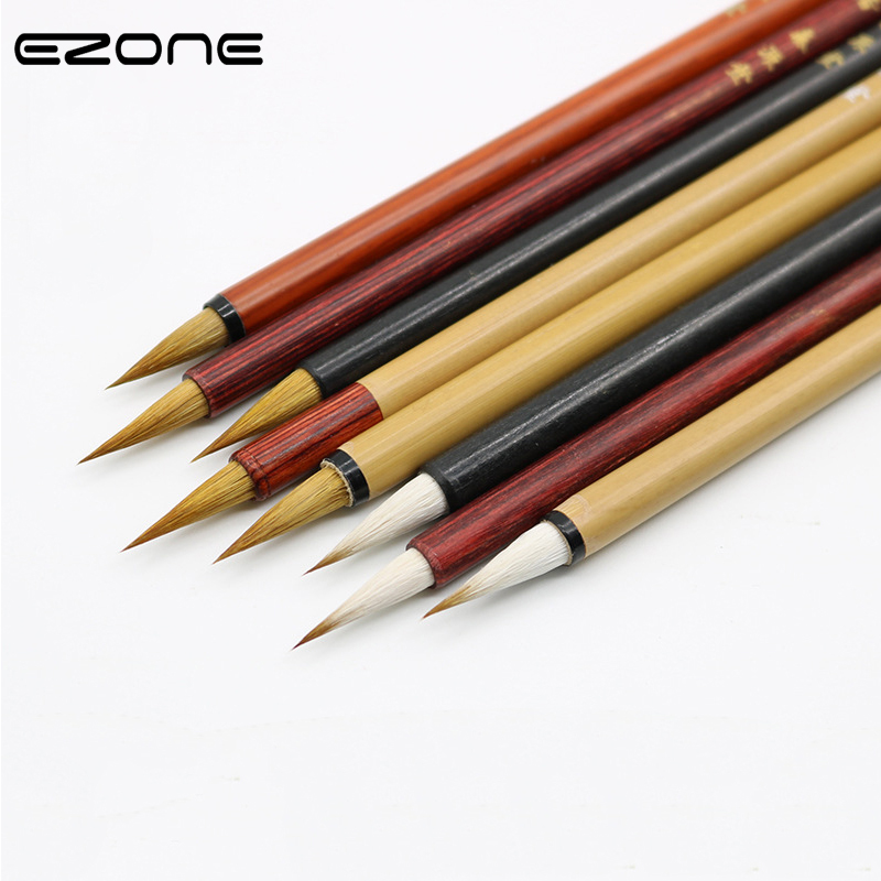 EZONE Wolf Hair Writing Brush Red Sandalwood Penholder Chinese Calligraphy Brushes Pen Artist Painting Drawing Office Supplies