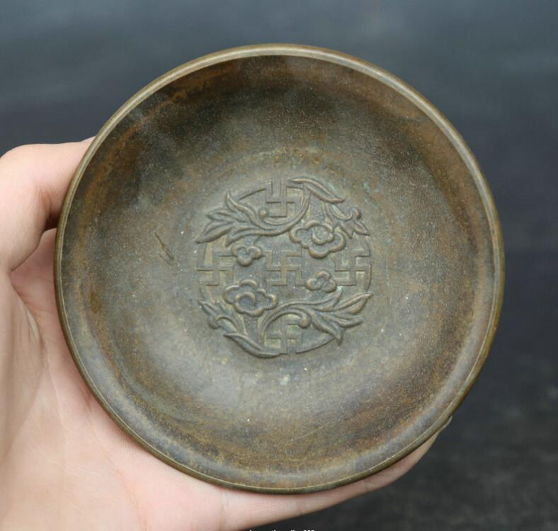 4.1Collect Chinese Fengshui Bronze Plum Blossom Jixiangfugui Wealth Bowl 4.1Collect Chinese Fengshui Bronze Plum Blossom Jixiangfugui Wealth Bowl
