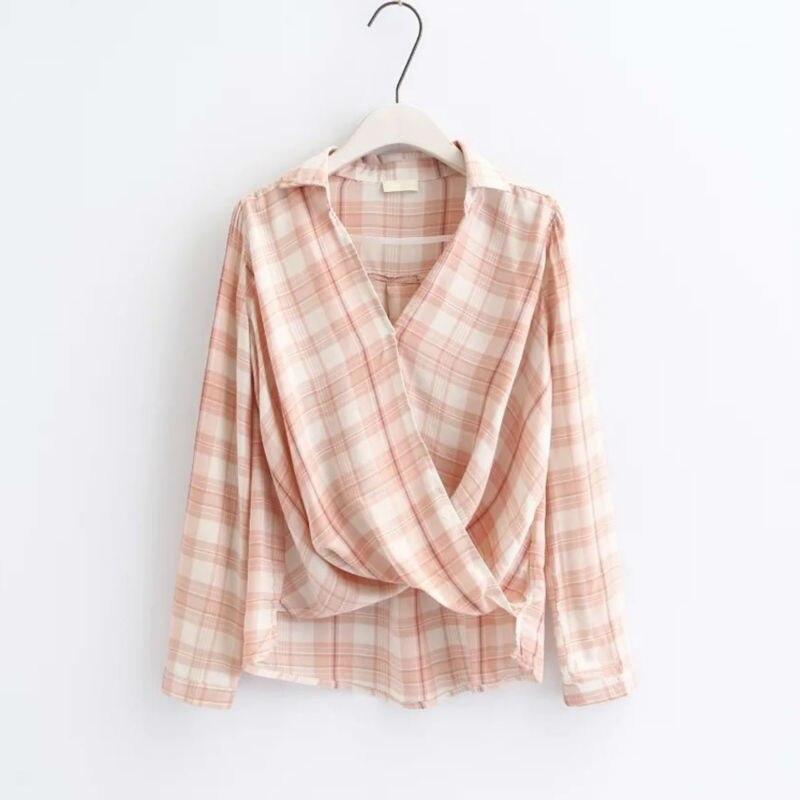 CT339 Primavera de Moda de Corea Antes de Cruz Blusa Mujeres Algodón Plaid blusa