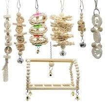 7 пакетов Птица Попугай качели жевательные игрушки-натуральный деревянный подвесной колокольчик декоративные игрушки для птичьих клеток подходит для маленьких попугаев Петухов Conur
