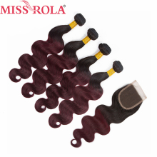 Miss Rola Hair Pre colored Ombre Brazilian Body Wave Hair 1B 99J Non Remy Human Hair