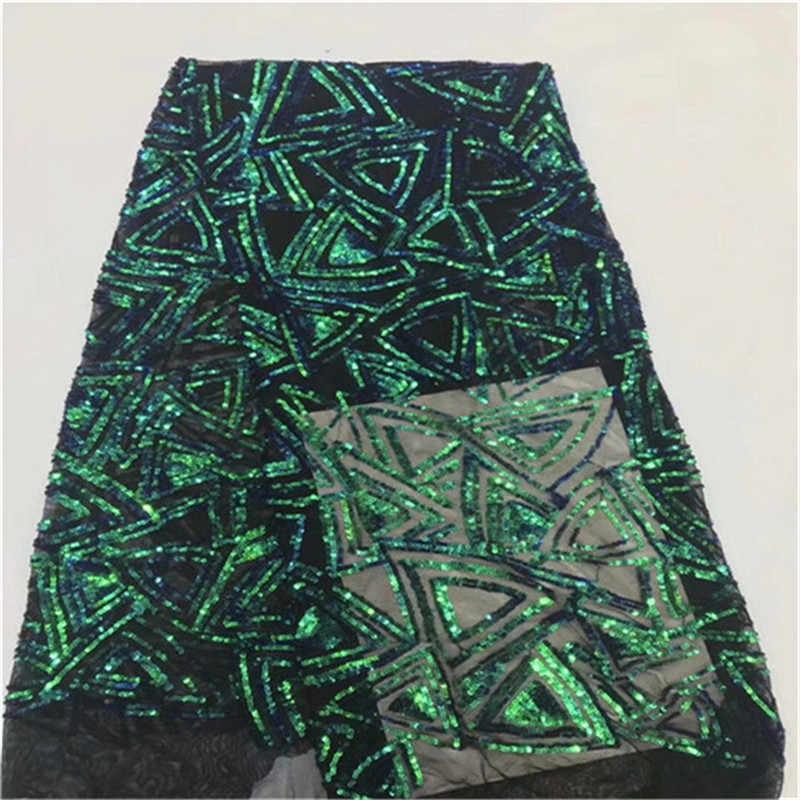 2019 зеленая Высококачественная африканская кружевная ткань золото, Белая французская сетчатая вышивка Тюлевое кружево с пайетками ткань для нигерийских Вечерние