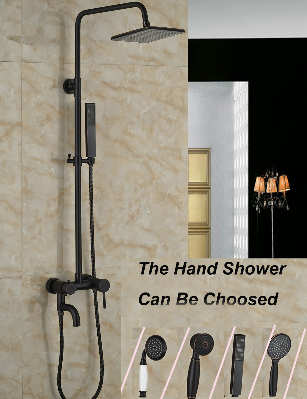 Wholesale And Retail 8 Square Shower Head Oil Rubbed Bronze Shower Column + Hand Shower + Tub Spout Mixer Tap