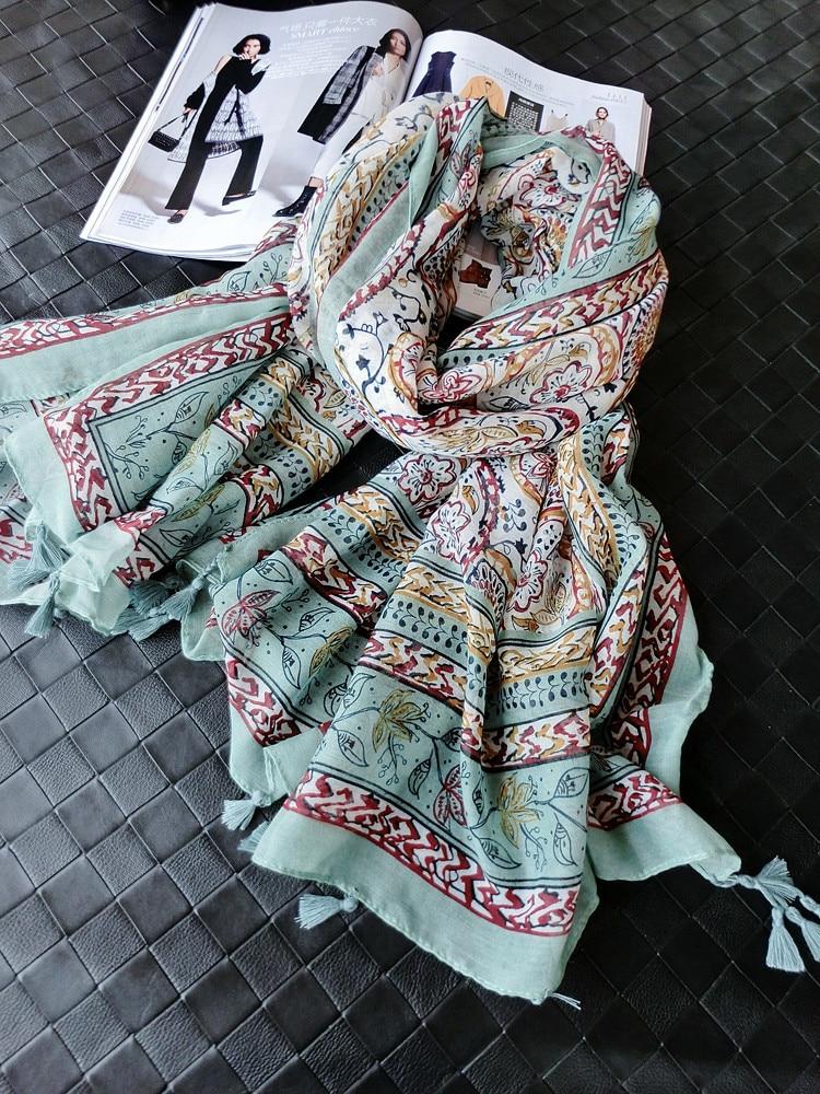 Summer bohemian scarf cotton flower scarf floral hijab women scarves with tassel bandana Muslim hijab shawls