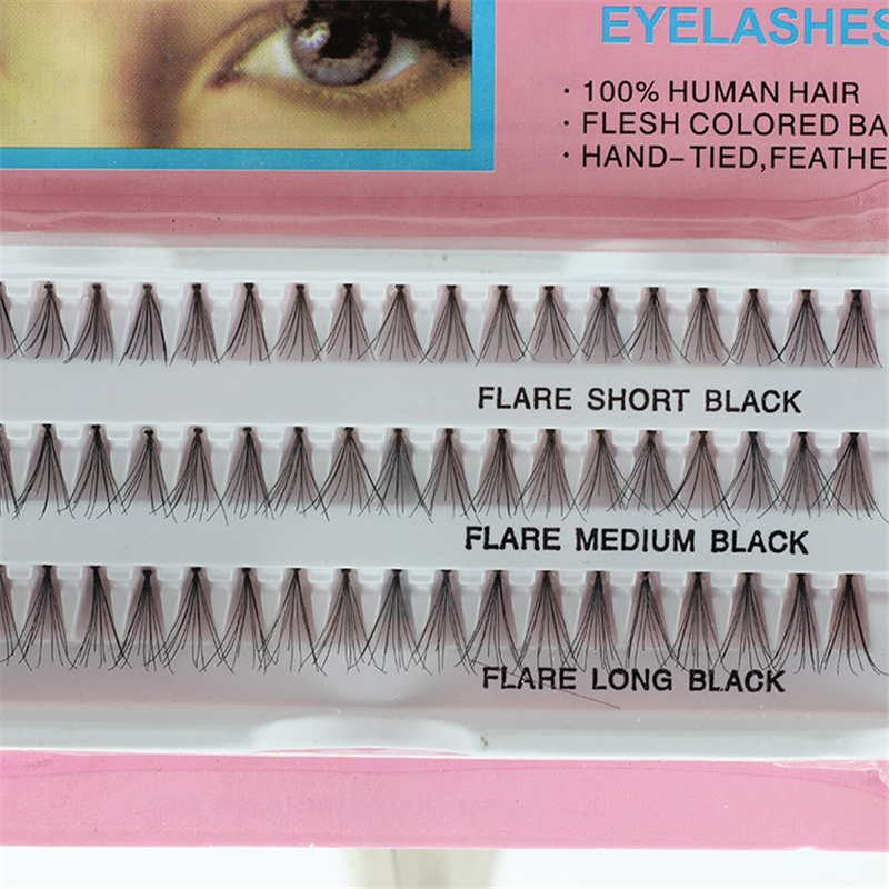 60PCS 100% Human Hair Individual Cluster Eyelash 10,12,14mm Mixed Size Natural Individual Eyelash Extension Makeup Tools