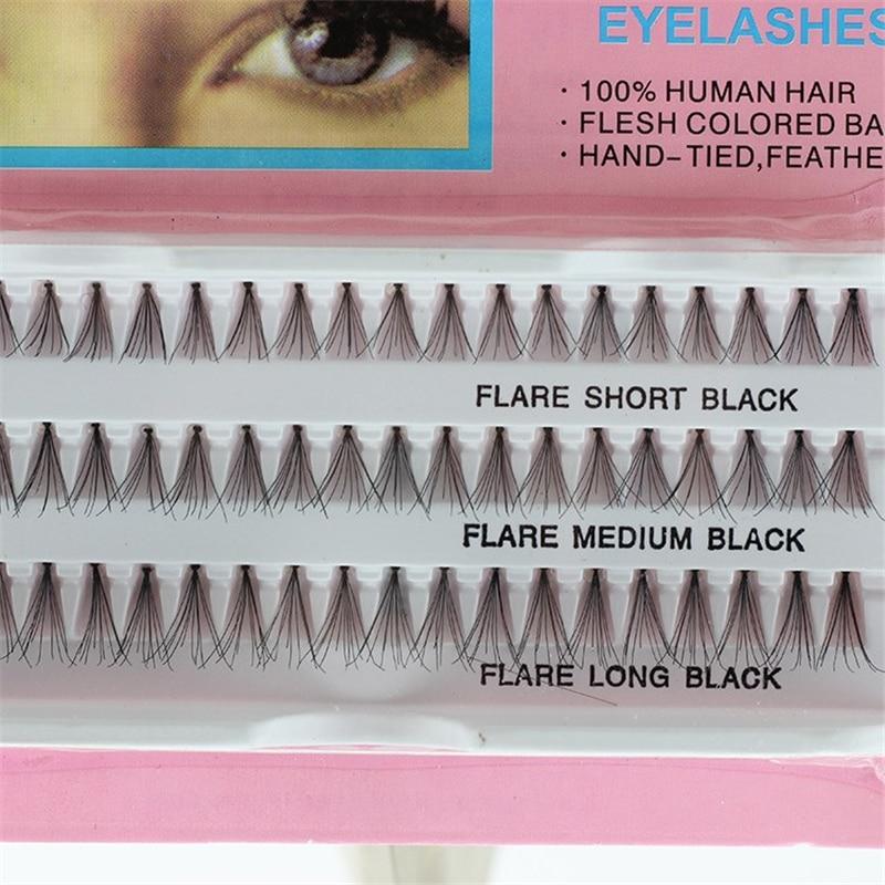 60 шт., 100% натуральные волосы для наращивания ресниц, 10,12,14 мм, разные размеры, инструменты для макияжа