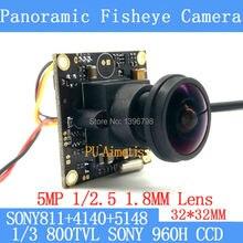 32*32mm 360Panoramic fisheye camera 800TVL 1/3 Effio-e CCD Sony 811+4140+5148 CCTV camera module, 5MP+1.8mm lens +BNC/OSDCable