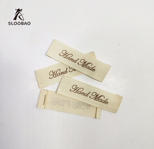 US $1 25 |Free shipping Handmade cotton labels for clothes print hand made  label offwhite garment tags custom hand work fabric sewing tag-in Garment