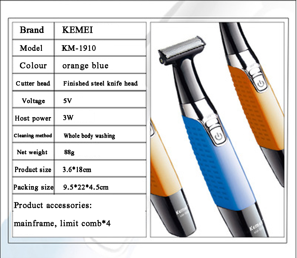 Image 4 - One Blade Men's Electric Shaver Body Face Electric Razor for Male Stubble Trimmer Beard Shaving Edge Head-in Electric Shavers from Home Appliances