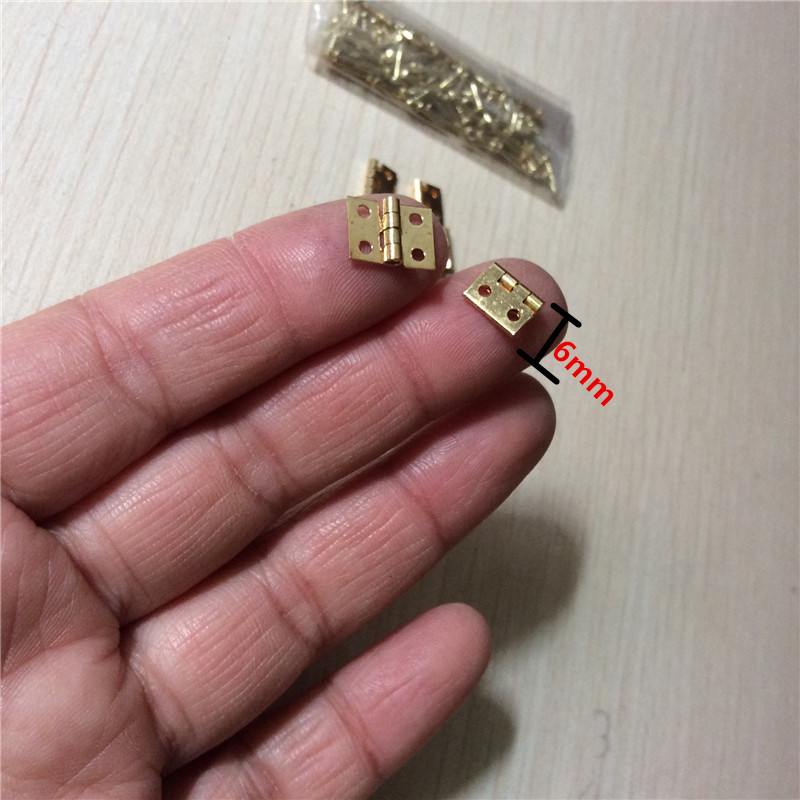 Brass Mini Hinge Decor Door Hinges Wooden Gift Jewelry Box Hinge Fittings for Furniture Hardware+Nail,10*8mm,10Pcs hide mini hardware copper plate hinge rationing concealed hinge pillar bucket cross word brass hinge