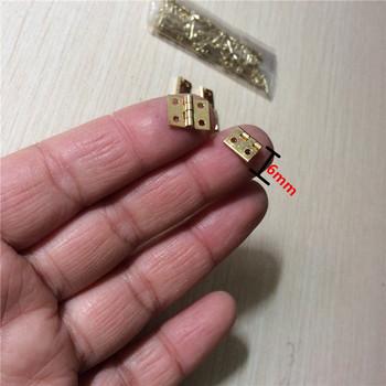 Mosiądz mini zawias Decor zawiasy w drzwiach prezent z drewna biżuteria Box zawias okucia na sprzęt meblowy + paznokci 10*8mm 10 sztuk tanie i dobre opinie Miedzi Gold Color Brass Woodworking