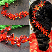 New Gold Plated Red Crystal  Beads Handmade Headband Wedding Tiara Flower Party Pageant Hair Jewelry