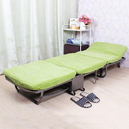 Ланч-брейк, складная односпальная кровать для офиса, трехслойная губчатая складная кровать для отдыха, Простая кровать для ухода - Цвет: light green
