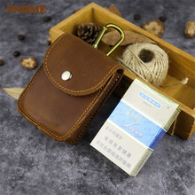 PNDME handmade crazy horse leather small belt bag for men vintage simple high quality  genuine mini hasp waist packs