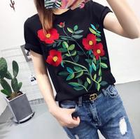 Harajuku Europe America New Women T Shirt Summer Tops Embroidery Flower T Shirt Loose Short Sleeve