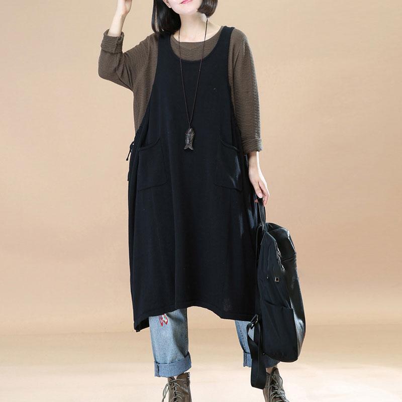 Autumn Vintage Dress Women 2018 Black Elegant Strappy Bib Overalls Dungarees Ladies Vestidos Sleeveless Casual Loose Sundress