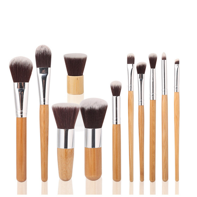 11PCS Bamboo Makeup Brushes Set With Cloth Bag Cosmetics Face Foundation Brush Powder Blusher Eyeshadow Beauty Blending Tool Set 4