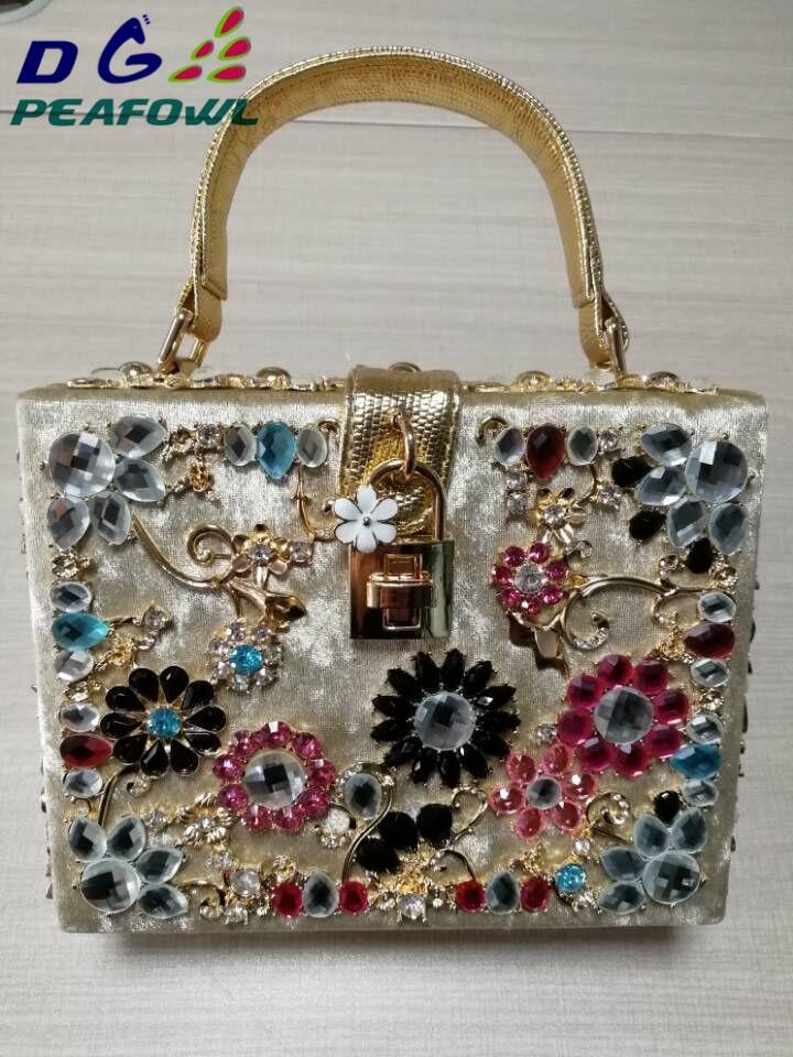 Fashion Prom evening bag diamond flower Clutch Bag hollow relief Corduroy/PU Ballot lock luxury handbag banquet bag party purse