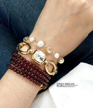 HOT SELLIN DYRBERG/KERN trendy  White square crystal gold bracelet IN STOCK