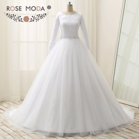 Stunning Scalloped Bateau Neck Long Sleeves Muslim Wedding Dress Lace Top Pearl Beaded Sash Ball Gown