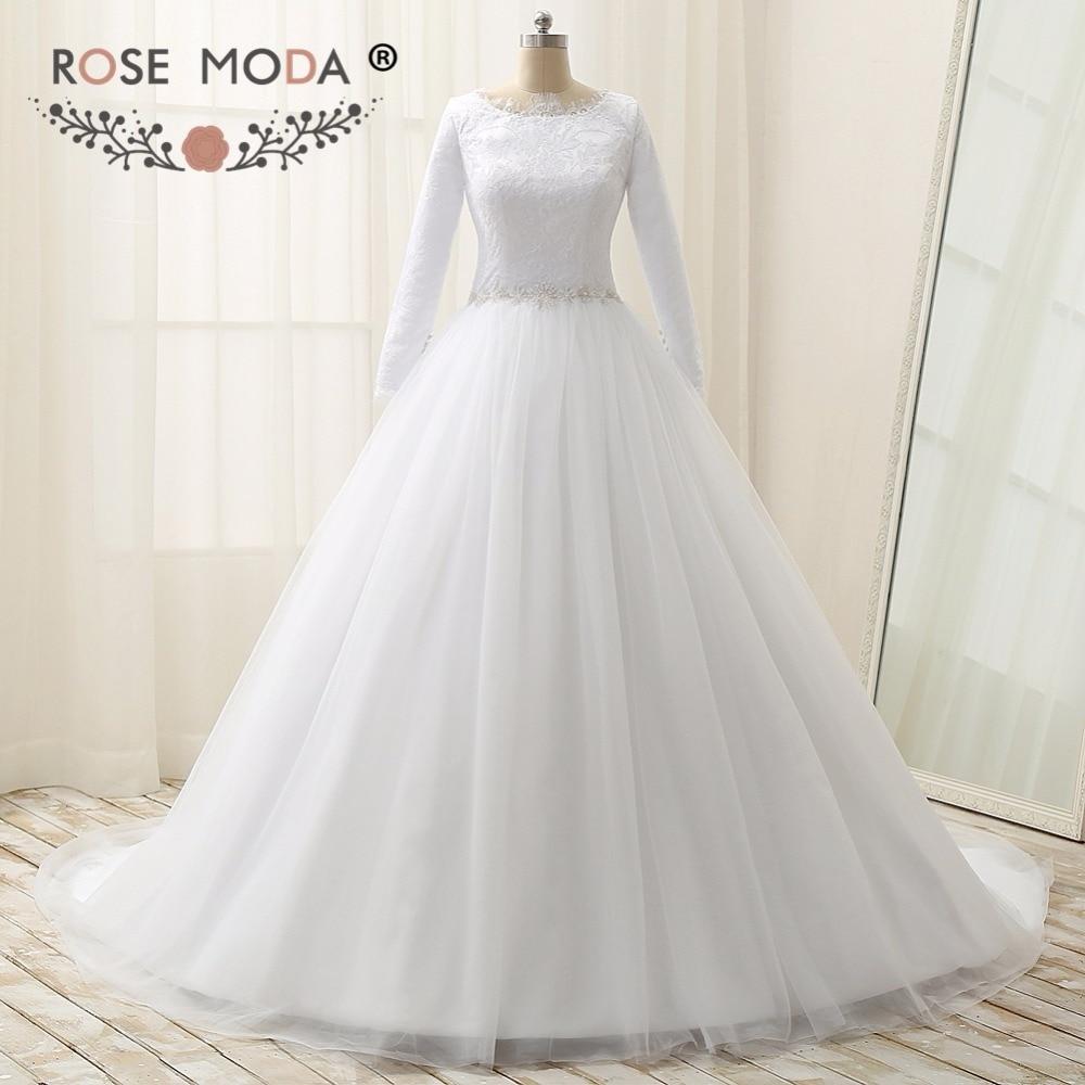 Rose Moda Long Sleeves Muslim Wedding Dress High Neck Lace Wedding Dresses with Crystal Sash Plus Size Real Photos