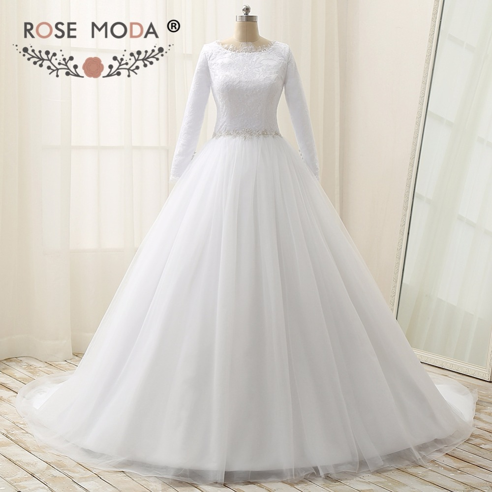 Subiu Moda Mangas Compridas Muçulmano Vestido De Noiva De Alta Neck Lace Vestidos de Casamento com Cristal Sash Plus Size Real Fotos