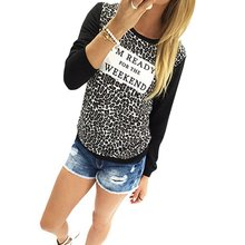 New Autumn Women Leopard Loose Long Sleeve Blouse Tee Shirt Casual Tops Hoodies