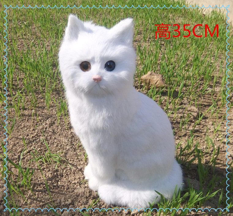 simulation cute white cat 35x15cm model polyethylene&furs cat model home decoration props ,model gift d443 simulation cute squatting white cat 35x15cm model polyethylene