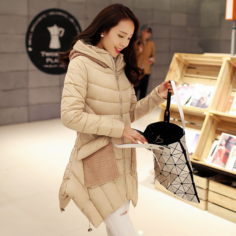 Warm Winter Jacket Women Fashion Parka Long Cotton Wadded Coat Jacket Female  Outwear Knitted Hat Winter Casual Coat C1258 2017 autumn winter women cotton jacket women knitted hat black cotton jacket high quality casual comfort clothing ls146