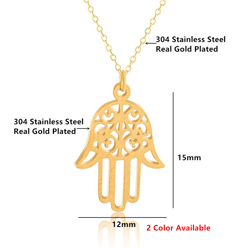 Image 3 - Arabic Soy Luna Hamsa Hand Pendant Necklace Women Men Amulet  Stainless Steel Gold Color Hand of Fatima Choker Islamic  Jewelrynecklaces for womenpendant necklacesilver choker