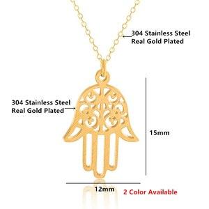 Image 4 - Arabic Soy Luna Hamsa Hand Pendant Necklace Women Men Amulet Stainless Steel Gold Color Hand of Fatima Choker Islamic Jewelry