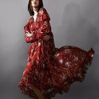 100% шелк женщина платье 2018 лето осень красный Цветочный принт рюшами с длинным рукавом глубоким v образным вырезом сексуальность тонкий миди