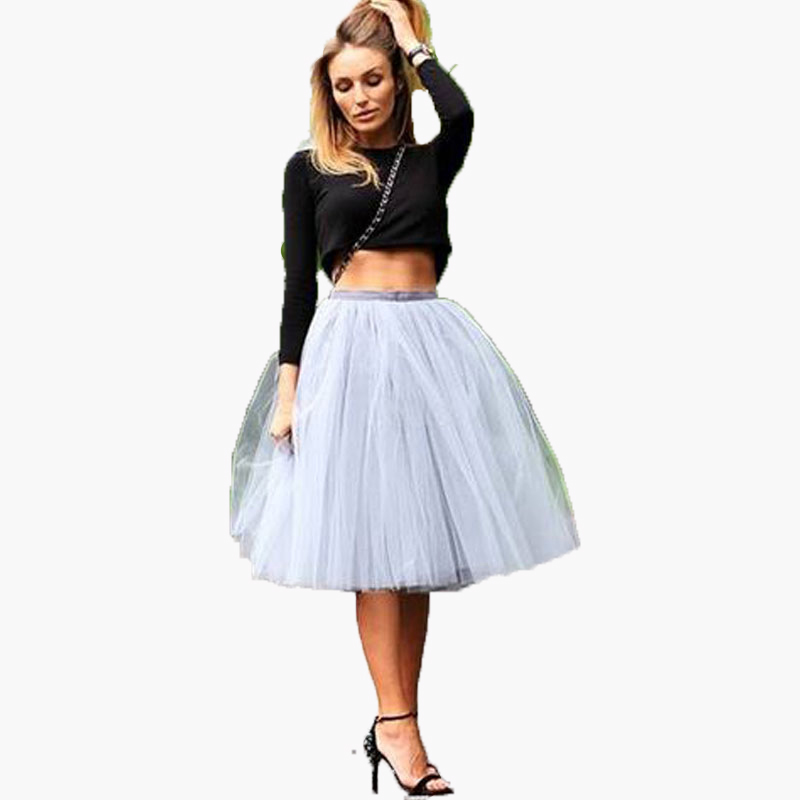 2016 Puffy Short Tulle Women Skirts Hot Selling Tutu Knee Length 7 Layers Tulle Skirts