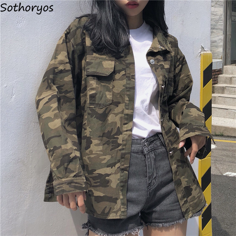 Jackets Women Camouflage Turn-  down   Collar Single Breasted Pockets European Style   Coats   Womens Lose BF Ulzzang Students Jakcet