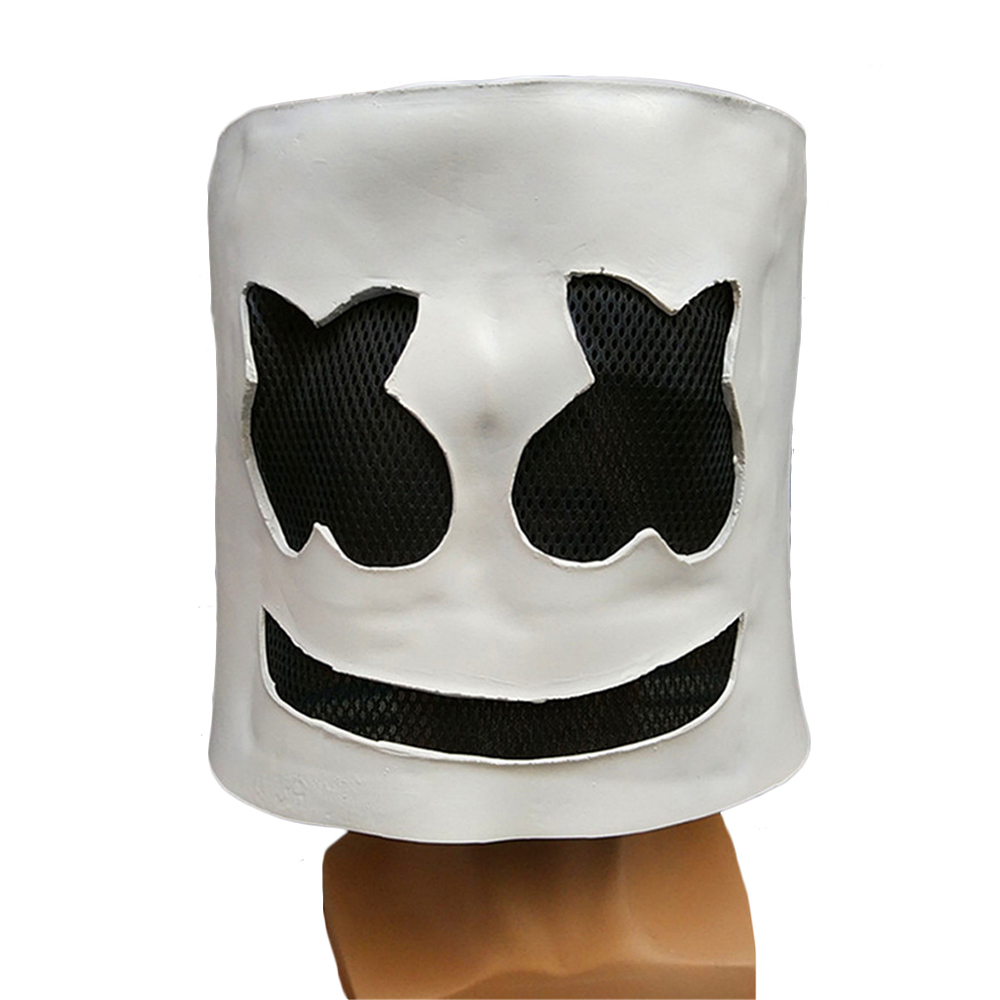 X-COSTUME Marshmello Head Full Face DJ Mask Latex Funny Mask For Cosplay Party Masquerade Marshmello Bars Masks Without LED