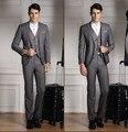 Handsome Custom Made Groom Tuxedos Grey Black Blue 3 Pieces Men Suits Groomsmen Men Wedding Suits Prom (Jacket+Pants+Vest+tie)