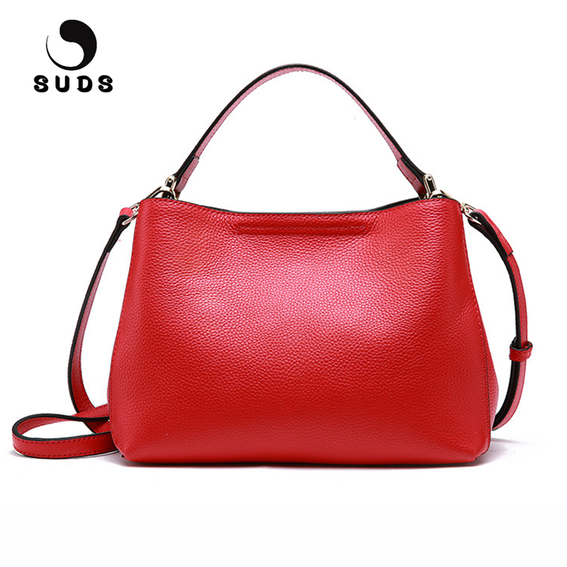 SUDS Brand Genuine Leather Women Messenger Bags Designer High Quality Small Shoulder Bag Female Casual Cow Leather Crossbody Bag suds brand genuine leather 2018 fashion women small shoulder bag high quality cow leather women messenger bag crossbody flap bag
