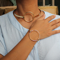 2017 Fashion Cool Jewelry Gold/Silver/Black Copper Made Hoop Collar Bangle Necklace Cuff Drop Shipping Free D0016