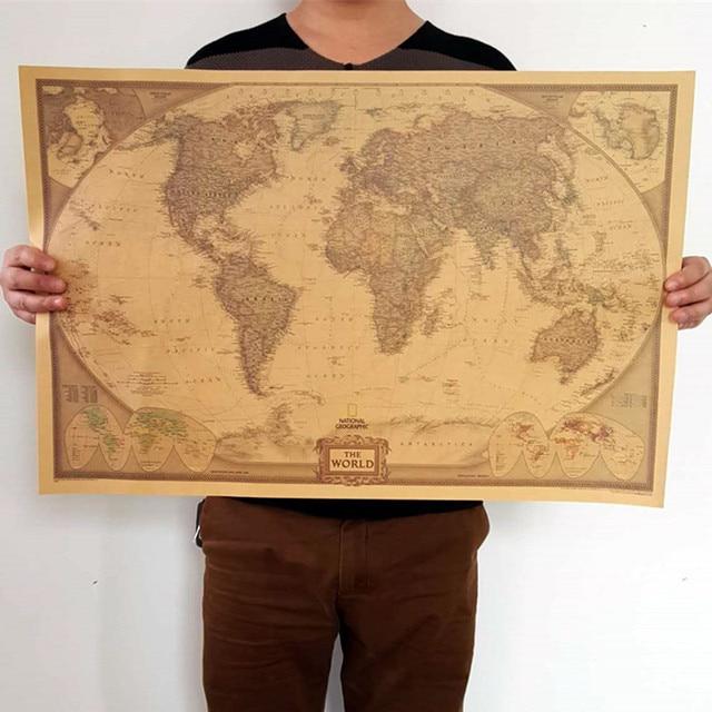 Us 80 69515 Cm Nostalgia Duże Retro Mapa świata Plakat W Stylu Vintage Papier Pakowy Plakaty ścienne Salon Obraz W 69515 Cm Nostalgia Duże