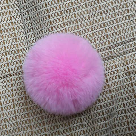 Nianfox 5 cm pompom adorável falso coelho pele bola chaveiro imitação rex coelho bola de cabelo chaveiro lã como a bola para a decoração da sapata