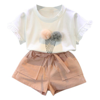 NewCasual cartoon Round Collar Summer Casual Baby Girl Cartoon Pattern Short sleeve Kid T shirts & Pants Tow piece Outfit Set
