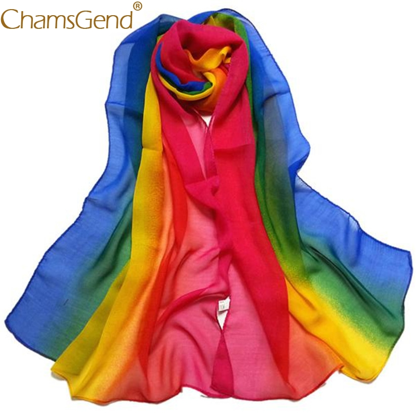 Free Shipping Rainbow Chiffon   Scarf   Women Fashion Gradient Long Shawl   Wraps     Scarves   80712