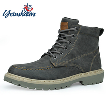 YEINSHAARS Boots Men Super Warm High Quality Winter Leather Shoes Leisure Skid Retro Lace Up Sneaker Casual